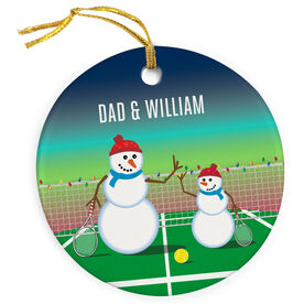 Tennis Porcelain Ornament Snowman Father & Child