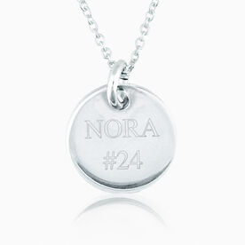 Personalized Sterling Silver Name and Team Number Engraved 20mm Pendant Necklace