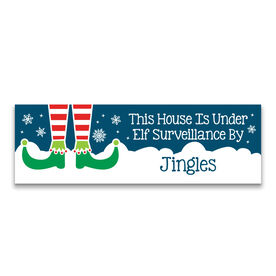 "Personalized 12.5"" X 4"" Removable Wall Tile - Under Elf Surveillance"