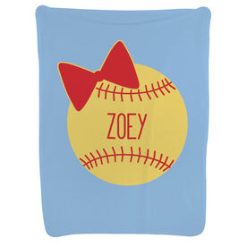 Softball Baby Blanket - Personalized Softball Bow
