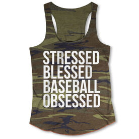Baseball Camouflage Racerback Tank Top - Stressed Blessed Baseball Obsessed