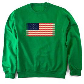 Hockey Crew Neck Sweatshirt Hockey Laces Flag