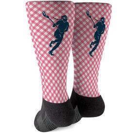 Girls Lacrosse Printed Mid-Calf Socks - Gingham Lacrosse Female Silhouette