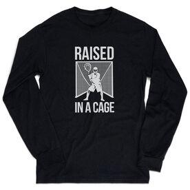 Guys Lacrosse Tshirt Long Sleeve - Raised In a Cage