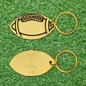 Engraved Football Brass Keychain