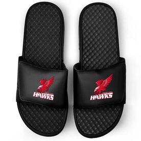 Black Slide Sandals - Greater Lowell Hawks Hockey Logo