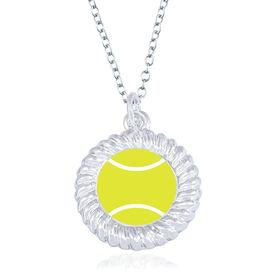 Tennis Braided Circle Necklace - Ball