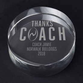 Rugby Personalized Engraved Crystal Gift - Thanks Coach