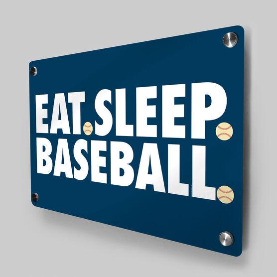 Baseball Metal Wall Art Panel - Eat Sleep Baseball