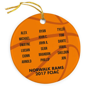 Basketball Porcelain Ornament Personalized Team Roster