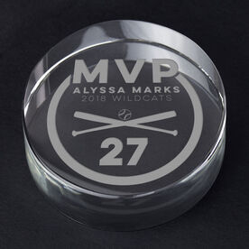 Softball Personalized Engraved Crystal Gift - MVP Award