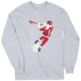 Guys Lacrosse Long Sleeve T-Shirt - Santa Laxer