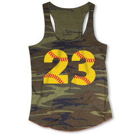 Softball Camouflage Racerback Tank Top - Number Stitches
