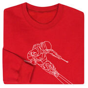 Skiing Crew Neck Sweatshirt - Skier Sketch