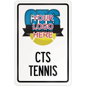 "Tennis Aluminum Room Sign Tennis Custom Logo (18"" X 12"")"