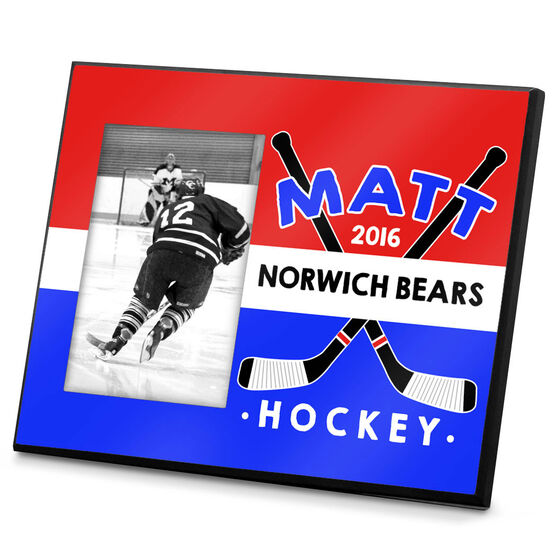 Hockey Personalized Photo Frame Tri-Color Crossed Sticks