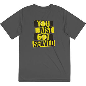 Tennis Short Sleeve Performance Tee - You Just Got Served with Neon Yellow