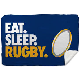 Rugby Sherpa Fleece Blanket - Eat. Sleep. Rugby. Horizontal