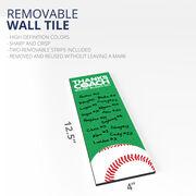 "Baseball 12.5"" X 4"" Removable Wall Tile - Thanks Coach (Autograph) Vertical"