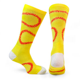 Softball Woven Mid Calf Socks - Stitches (Yellow/Red)