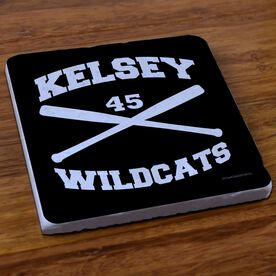 Softball Stone Coaster Personalized Softball Crossed Bats