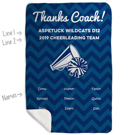 Cheerleading Sherpa Fleece Blanket - Personalized Thanks Coach Chevron