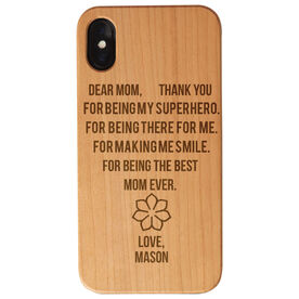 Personalized Engraved Wood IPhone® Case - Dear Mom Thank You Heart