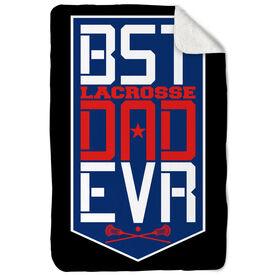 Guys Lacrosse Sherpa Fleece Blanket - Best Dad Ever Shield