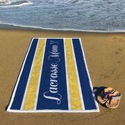 Girls Lacrosse Premium Beach Towel - Mom Stripe