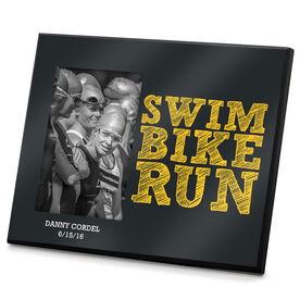 Triathlon Photo Frame Swim Bike Run Stacked