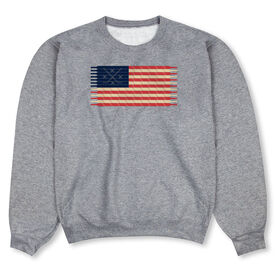 Hockey Crew Neck Sweatshirt - Hockey Laces Flag