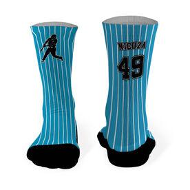 Baseball Printed Mid Calf Socks Baseball Pin Stripes