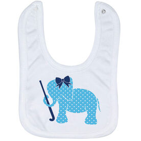 Field Hockey Baby Bib - Field Hockey Elephant with Bow
