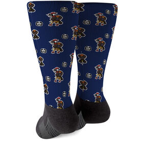 Seams Wild Football Printed Mid-Calf Socks - Woodwind   (Pattern)