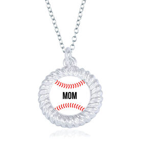 Baseball Braided Circle Necklace - Ball With Mom