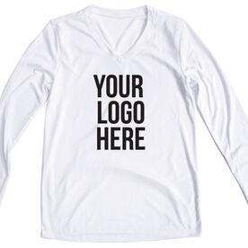 Women's Customized White Long Sleeve Tech Tee Your Logo