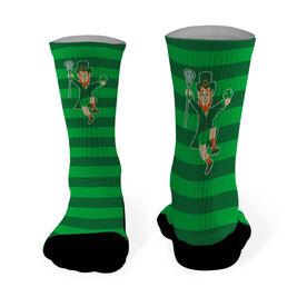 Lacrosse Printed Mid Calf Socks Lucky Lax Leprechaun