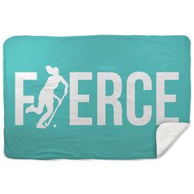 Field Hockey Sherpa Fleece Blanket - Fierce Field Hockey Girl