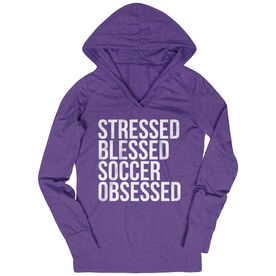 Soccer Lightweight Performance Hoodie - Stressed Blessed Soccer Obsessed