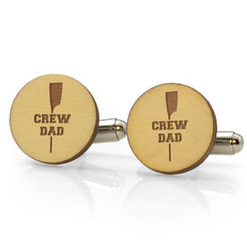 Crew Engraved Wood Cufflinks Dad