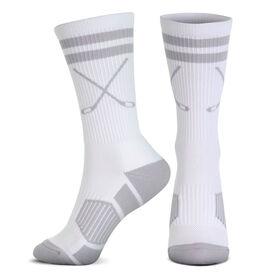 Hockey Woven Mid-Calf Socks - Classic Stripe Crossed Sticks (White/Gray)
