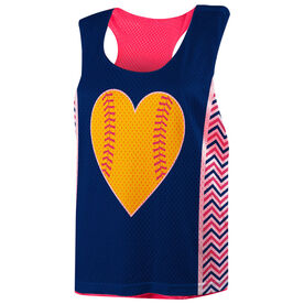 Softball Racerback Pinnie - Personalized Heart With Chevron