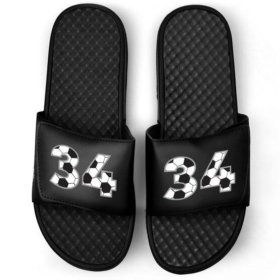 Soccer Black Slide Sandals - Custom Soccer Number