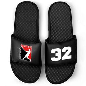 Baseball Black Slide Sandals - Logo and Big Number