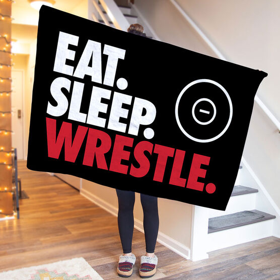 Wrestling Premium Blanket - Eat. Sleep. Wrestle. Horizontal