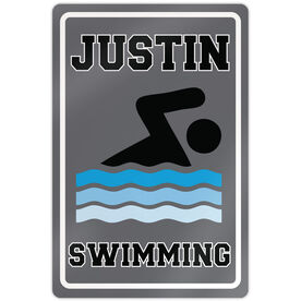 "Swimming 18"" X 12"" Aluminum Room Sign Personalized Swimming Sign Guy"