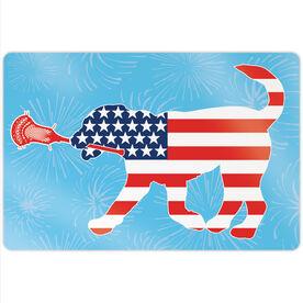 """Guys Lacrosse 18"""" X 12"""" Aluminum Room Sign - Patriotic Max the Lax Dog"""