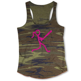 Softball Camouflage Racerback Tank Top - Stick Figure Batter