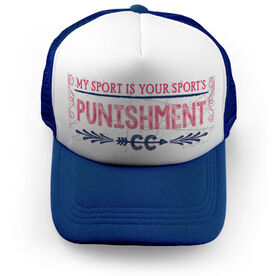 Cross Country Trucker Hat Chalkboard My Sport Is Your Sport's Punishment