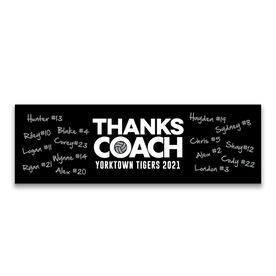 """Volleyball 12.5"""" X 4"""" Removable Wall Tile - Thanks Coach (Autograph)"""